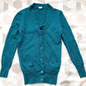 J.Crew Merino Wool Cardigan Sweater Blue Teal Sz S